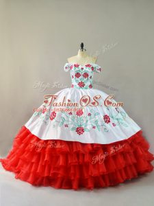 Perfect Organza Sleeveless Quinceanera Dress Court Train and Embroidery and Ruffled Layers