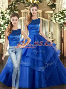 Spectacular Scoop Sleeveless Tulle Quinceanera Gown Ruffled Layers Lace Up