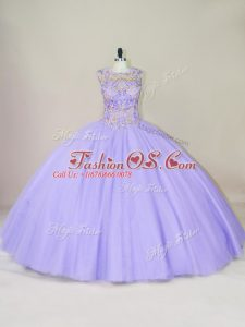 Pretty Lavender Sleeveless Floor Length Beading Lace Up Quince Ball Gowns