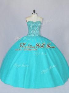 Aqua Blue Lace Up Sweetheart Beading Sweet 16 Dresses Tulle Sleeveless