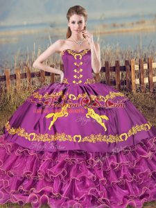 Satin and Organza Sweetheart Sleeveless Brush Train Lace Up Embroidery and Ruffles Sweet 16 Dress in Purple