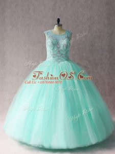 Sleeveless Floor Length Beading Lace Up Sweet 16 Quinceanera Dress with Apple Green