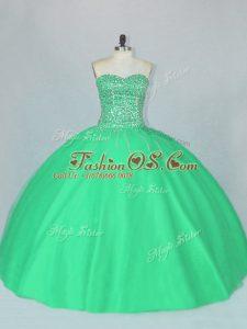 Green Sweetheart Neckline Beading Sweet 16 Dresses Sleeveless Lace Up