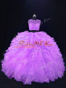 Low Price Two Pieces Quinceanera Dress Lavender Scoop Organza Sleeveless Floor Length Zipper