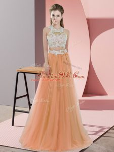 Orange Tulle Zipper Halter Top Sleeveless Floor Length Bridesmaid Dresses Lace