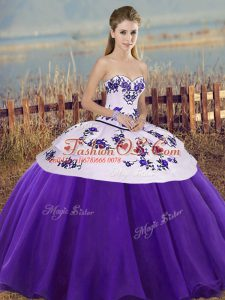Delicate White And Purple Ball Gowns Sweetheart Sleeveless Tulle Floor Length Lace Up Embroidery and Bowknot Vestidos de Quinceanera
