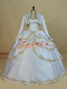 Latest Sleeveless Satin Floor Length Lace Up Quinceanera Gowns in White with Embroidery