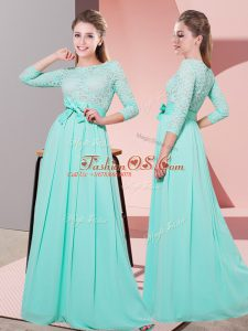Chiffon Scoop 3 4 Length Sleeve Side Zipper Lace and Belt Quinceanera Court of Honor Dress in Apple Green