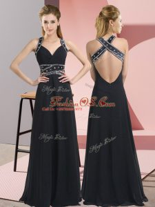 Classical Black Sleeveless Chiffon Backless Mother Of The Bride Dress for Prom and Party