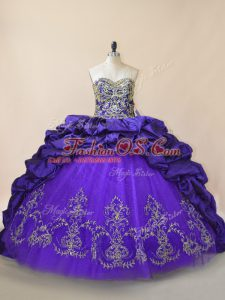 Lace Up Quinceanera Dress Purple for Sweet 16 and Quinceanera with Embroidery and Pick Ups Brush Train