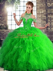 Fancy Green Sleeveless Tulle Lace Up 15th Birthday Dress for Military Ball and Sweet 16 and Quinceanera