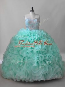 Artistic Lace Up Sweet 16 Dress Apple Green for Sweet 16 and Quinceanera with Beading Brush Train