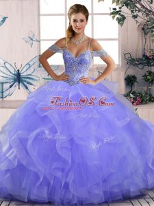 Lavender Sleeveless Beading and Ruffles Asymmetrical Quince Ball Gowns