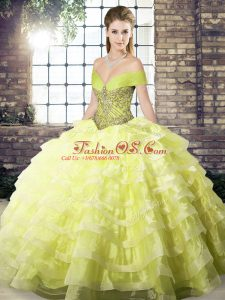 Most Popular Yellow Organza Lace Up Quinceanera Gown Sleeveless Brush Train Beading and Ruffled Layers