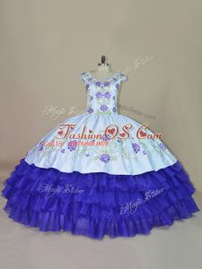 Trendy Ball Gowns Quinceanera Dress Blue and Purple V-neck Satin and Organza Sleeveless Floor Length Lace Up