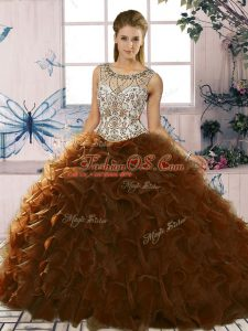 New Arrival Brown Sleeveless Organza Lace Up Vestidos de Quinceanera for Military Ball and Sweet 16 and Quinceanera