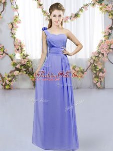 Lavender Sleeveless Chiffon Lace Up Wedding Guest Dresses for Wedding Party