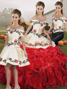 White And Red Lace Up Quinceanera Dresses Embroidery and Ruffles Sleeveless Floor Length