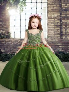 Green Straps Neckline Beading Winning Pageant Gowns Sleeveless Lace Up