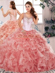 Top Selling Watermelon Red Scoop Clasp Handle Beading and Ruffles Ball Gown Prom Dress Sleeveless