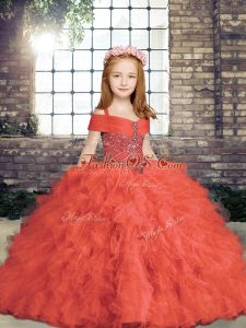Stylish Beading Little Girls Pageant Dress Wholesale Red Lace Up Sleeveless Floor Length