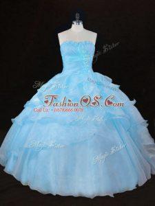Aqua Blue Organza Lace Up Vestidos de Quinceanera Sleeveless Floor Length Ruffles