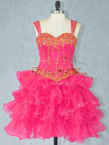 Mini Length Lace Up Club Wear Hot Pink for Prom and Party with Beading and Ruffled Layers