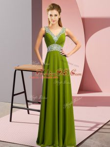 Sleeveless Chiffon Floor Length Lace Up Teens Party Dress in Olive Green with Beading