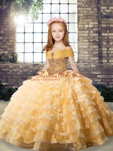 Organza Straps Sleeveless Brush Train Lace Up Beading and Ruffled Layers Little Girls Pageant Gowns in Orange