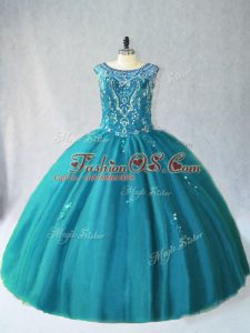 High Quality Ball Gowns 15 Quinceanera Dress Teal Scoop Tulle Sleeveless Floor Length Lace Up