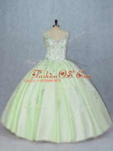 Custom Made Lace Up 15 Quinceanera Dress Yellow Green for Sweet 16 and Quinceanera with Beading