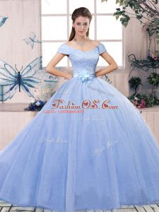 Deluxe Tulle Short Sleeves Floor Length Sweet 16 Dresses and Lace and Hand Made Flower