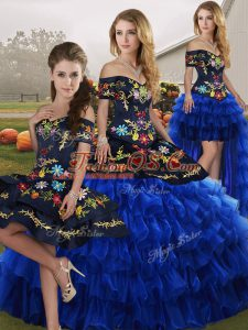 Dazzling Floor Length Blue And Black Vestidos de Quinceanera Organza Sleeveless Embroidery and Ruffled Layers