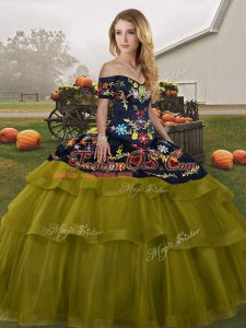 Fashion Olive Green Sleeveless Embroidery and Ruffled Layers Lace Up Sweet 16 Dress