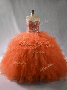 Best Selling Floor Length Ball Gowns Sleeveless Orange Red Sweet 16 Dresses Lace Up