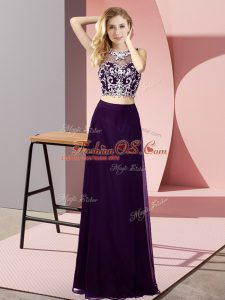 Sleeveless Chiffon Floor Length Backless Celebrity Prom Dress in Purple with Beading