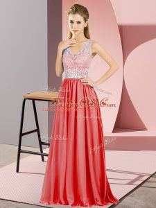 One Shoulder Sleeveless Military Ball Dresses For Women Floor Length Beading and Lace Red Chiffon