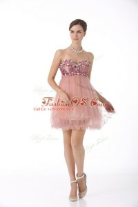 Pink A-line Sweetheart Sleeveless Tulle Mini Length Zipper Beading Cocktail Dress