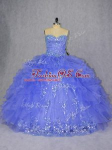 Sleeveless Lace Up Floor Length Appliques and Ruffles 15 Quinceanera Dress