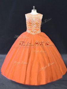 Floor Length Orange Quince Ball Gowns Tulle Sleeveless Beading