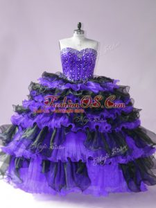 Latest Black And Purple Sweetheart Lace Up Beading and Ruffled Layers Sweet 16 Dress Sleeveless