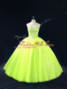 Ball Gowns 15 Quinceanera Dress Yellow Green Sweetheart Tulle Sleeveless Floor Length Lace Up