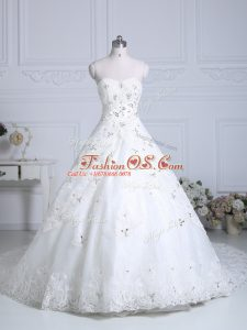 Sleeveless Chapel Train Beading and Lace Lace Up Wedding Gowns