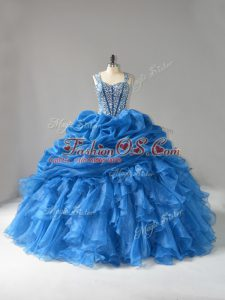 Custom Designed Blue Lace Up Straps Beading and Ruffles Quinceanera Dresses Organza Sleeveless