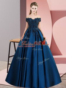 Smart Navy Blue Sleeveless Satin Zipper Quince Ball Gowns for Sweet 16 and Quinceanera