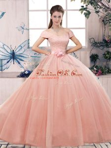 Floor Length Ball Gowns Short Sleeves Pink 15 Quinceanera Dress Lace Up