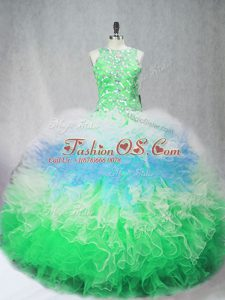 Cute Multi-color Scoop Zipper Beading and Ruffles Vestidos de Quinceanera Sleeveless