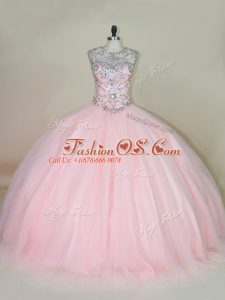 Sophisticated Ball Gowns Quinceanera Dresses Baby Pink Scoop Tulle Sleeveless Lace Up