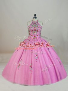 Sleeveless Brush Train Lace Up Appliques and Embroidery Sweet 16 Dresses
