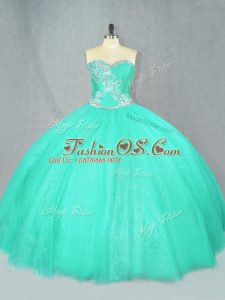 Free and Easy Turquoise Lace Up Sweet 16 Dresses Beading Sleeveless Floor Length